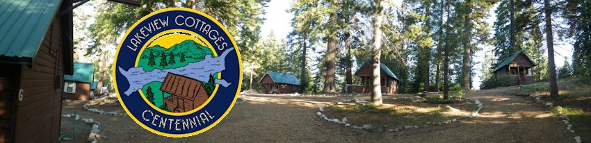 cabin panorama with centennial logo